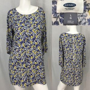 Large Old Navy Floral 3/4 Sleeves Mini Tunic Dress